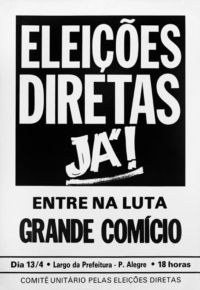 Cartaz do comício em Porto Alegre