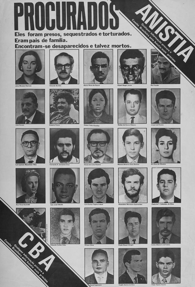 Cartaz do Comitê Brasileiro de Anistia com fotos de militantes desaparecidos depois de capturados pela repressão