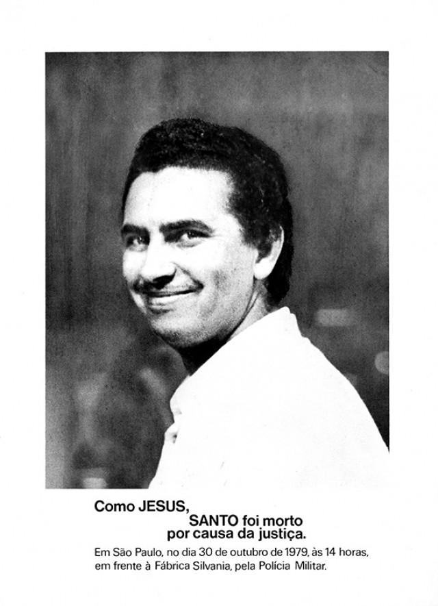 Santo Diasda Silva, líder da oposição à diretoria do Sindicato dos Metalúrgicos de SP, assassinado pela PM