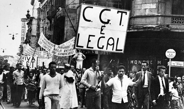 <strong> Passeata pela criação do CGT</strong> no Rio de Janeiro, em agosto de 1962