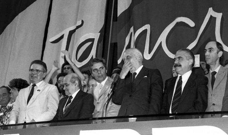 <strong> Arraes, Tancredo, Ulysses, Sarney e Maciel,</strong> entre outras lideran&ccedil;as do PMDB e da Frente Liberal, na conven&ccedil;&atilde;o peemedebista&nbsp;