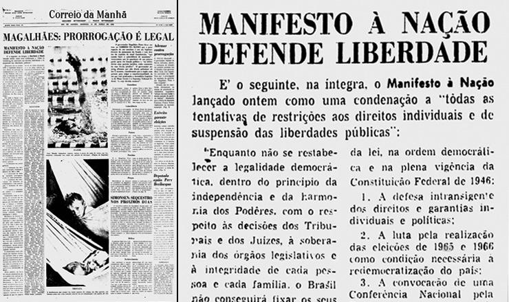 """<strong> Um ano depois</strong> de apoiar a queda de Goulart, o """"Correio da Manhã"""" publica o Manifesto Nacional pela Democracia"""