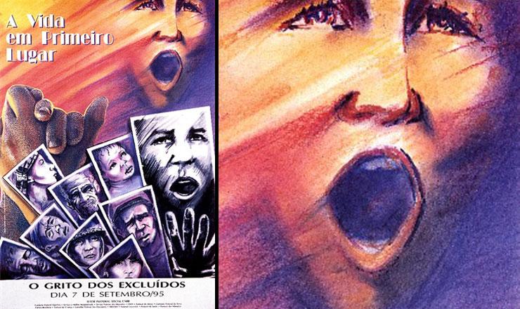 """<strong> Cartaz do primeiro Grito dos Excluídos,</strong> de 1995, que destaca o lema """"Vida em Primeiro Lugar"""""""