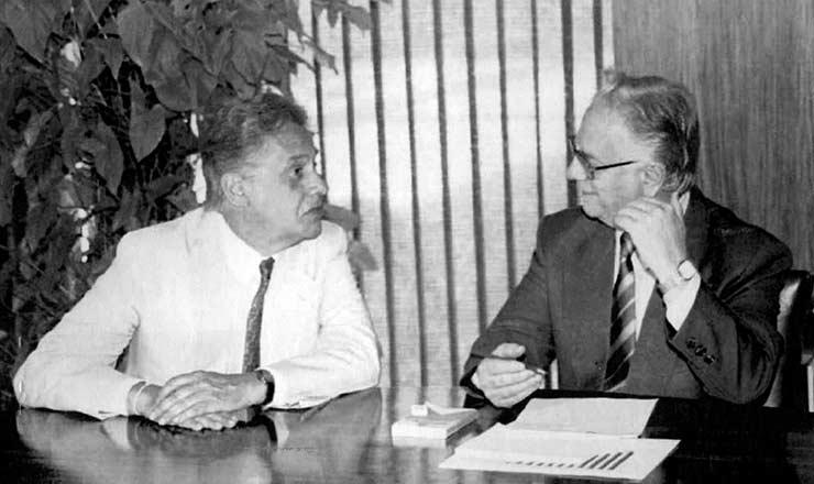 <strong> Fernando Henrique Cardoso,</strong> ministro da Fazenda, e o presidente Itamar Franco, em Brasília