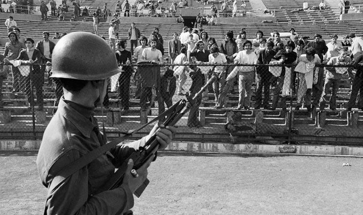 <strong> O Est&aacute;dio Nacional, em Santiago, </strong> transformado pelos golpistas em centro de deten&ccedil;&atilde;o, tortura e assassinato de apoiadores do regime deposto
