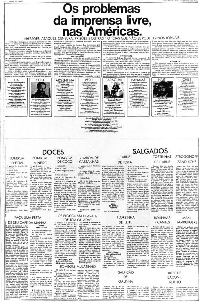 """No """"Jornal da Tarde"""", receitas de doces e salgados ocupam o espaço de matérias censuradas"""