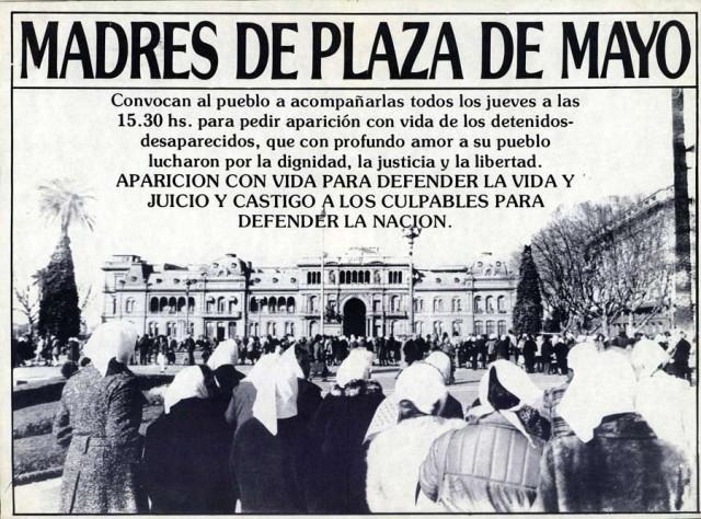 Cartaz das Mães da Praça de Maio, movimento que se notabilizou pelas denúncias dos crimes da ditadura argentina e na busca de crianças desaparecidas e dadas em adoção aos militares e a seus apoiadores